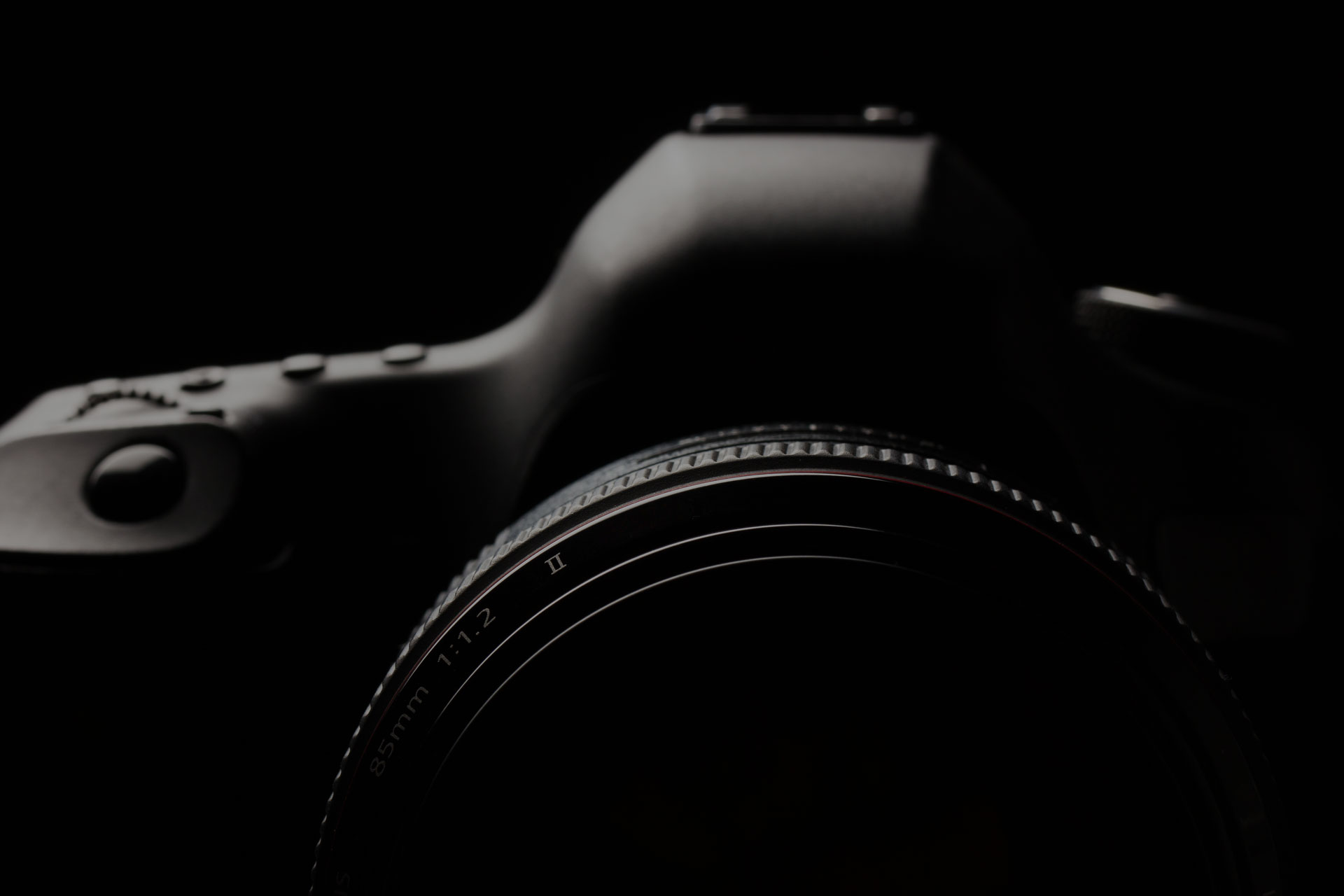Modern DSLR camera with a very wide aperture lens on